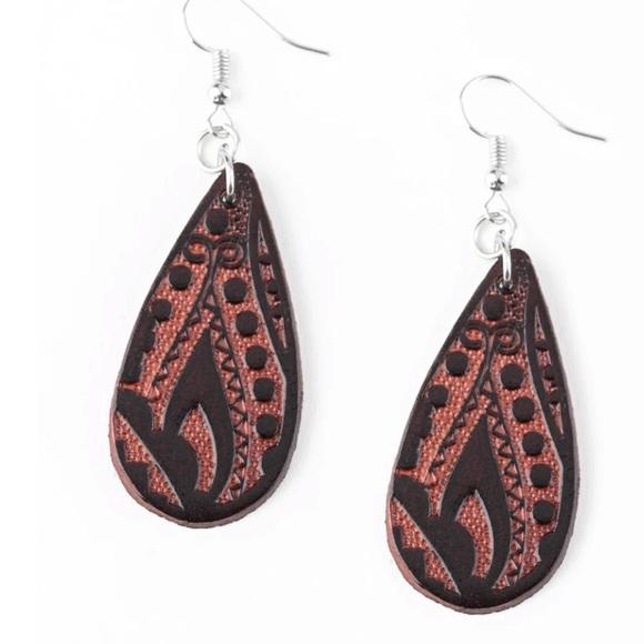 K69 Brown leather earrings